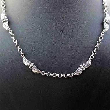 Ocelový náhrdelník  Winged skulls  - 52 cm.