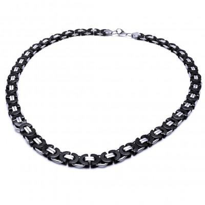 Ocelový náhrdelník - Plochá Vazba 0,8 cm / shiny / Black (9726)