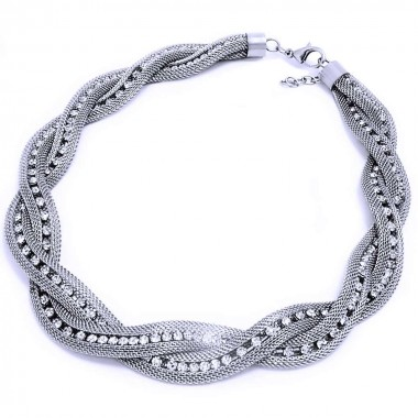 Ocelový náhrdelník - Pletený s kameny / Knot / Stones (1922)