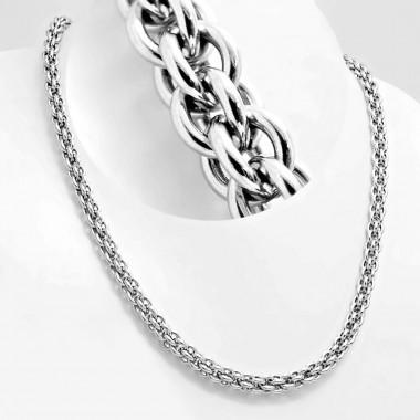 Ocelový náhrdelník Andre Nicol - Pletené kroužky / lesk (4144)