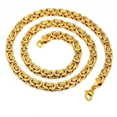 Ocelový náhrdelník EXEED - Zlacená Vazba / Gold Plated (5917)