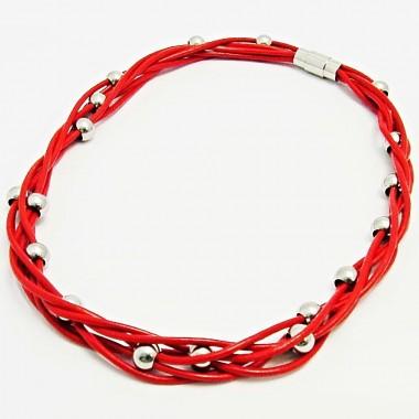Ocelový náhrdelník - Ocel / Červená kůže / RED leather (1503)