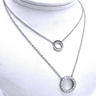 Ocelový náhrdelník EXEED - Řetízek s kroužky / Kamínky (9501)