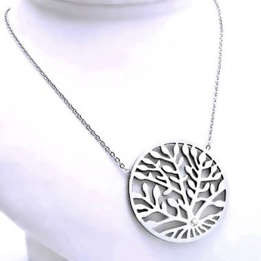 Ocelový náhrdelník - Strom Života / Kamínek / Preciosa Crystal (9299)