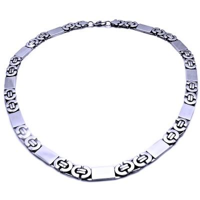 Ocelový náhrdelník - Vazba 1,1 cm / Destičky / lesk (9028)