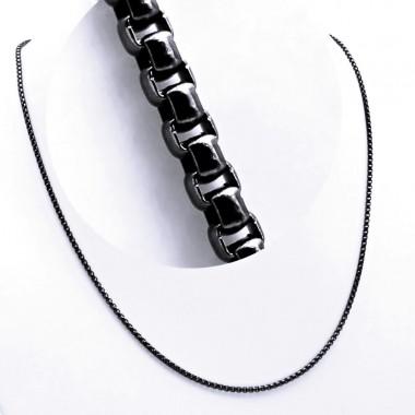 Ocelový řetízek - Kroužky / Černý / Black (9616)
