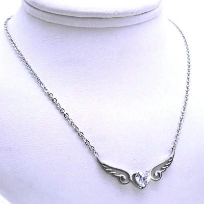 Ocelový náhrdelník - Okřídlené Srdce / Kamínek (9212)