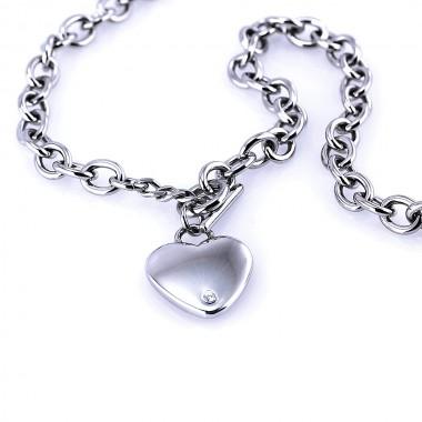 Ocelový náhrdelník - Srdce / Heart/Stone (6176)