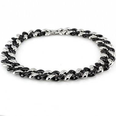 Ocelový Náhrdelník - Černá Keramika / Steel / Ceramic Black (6430)