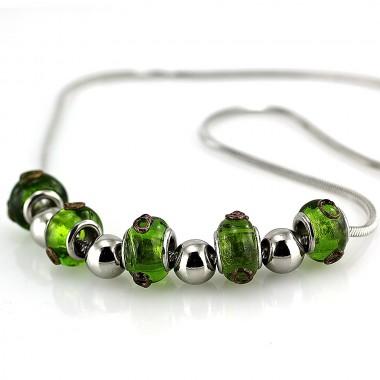 Ocelový náhrdelník - zelené korálky / benátské sklo / green glass (5347)