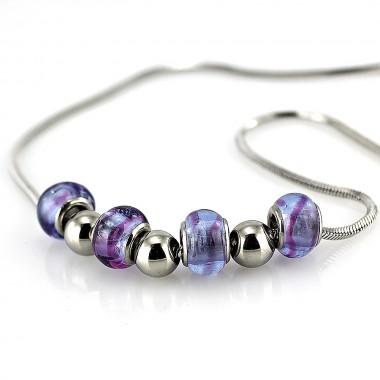 Ocelový náhrdelník - modrofialové korálky / sklo / royal-blue glass (5348)