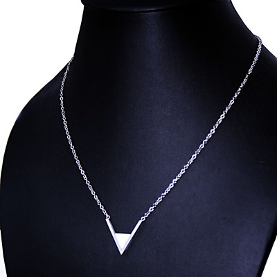 Ocelový náhrdelník - V / bílý kámen (70058)