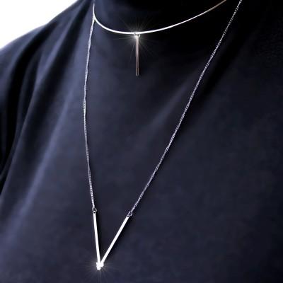 Ocelový Náhrdelník - Kruh s tyčinkou a přívěskem / crystal / V  (70060)