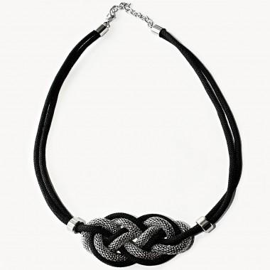 Ocelový náhrdelník - Black Knot / Steel (7388)
