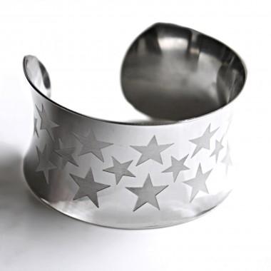Ocelový náramek Pevný - Ornament III / Hvězdy / Stars