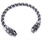 Ocelový náramek - Dračí hlavy / Dragon heads / Torque / Pagan V020