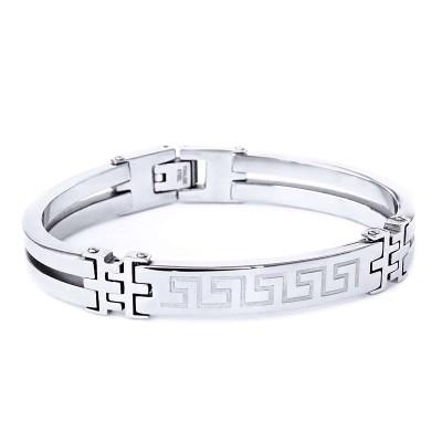 Ocelový náramek - Pevný / Meandr Ornament / Greek (V020)