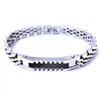 Ocelový náramek - Leštěný s Destičkou / Karbon (41486)