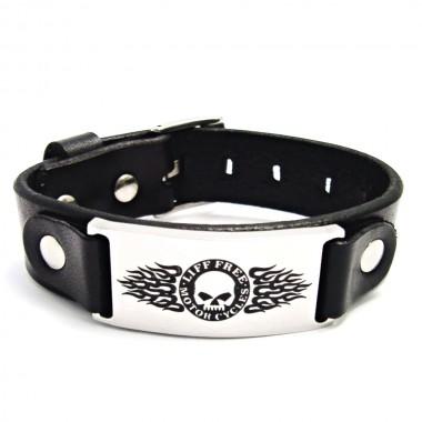 Ocelový náramek - Harley Davidson / Black Leather 4 (17-22)