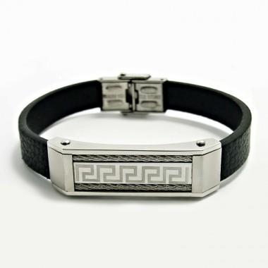 Ocelový náramek EXEED - Greek / Black Leather (4707)