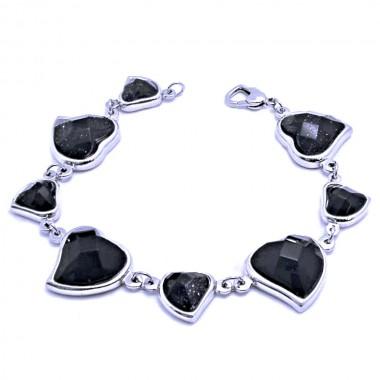 Ocelový náramek EXEED - Černé srdce / Black / Stone / Heart (664)