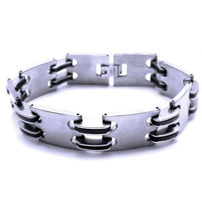 Ocelový náramek - Kaučuk / Black / Matt / Shiny (41001)