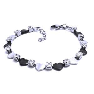 Ocelový náramek - Srdce s kamínky / Hearts / Stones / Black (4932)