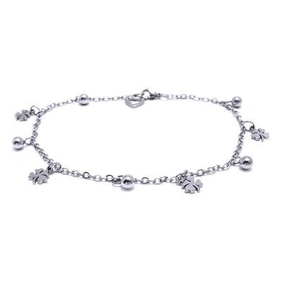 Ocelový náramek - Čtyřlístky / Kuličky / Srdce (41528)