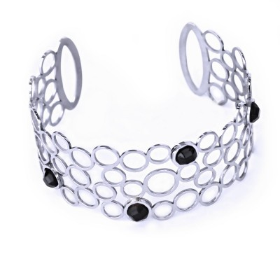 Ocelový náramek - pevný / Černé kameny (70200)