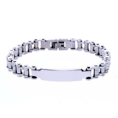 Ocelový náramek - R - Chain / Destička (8168)