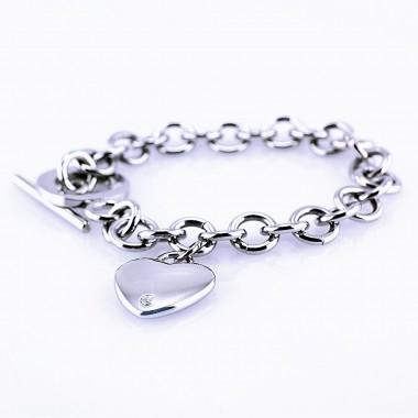 Ocelový náramek - Srdce/Heart/Stone (5299)