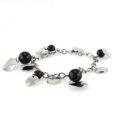 Ocelový náramek - Leštěný s Černými Kuličkami / Black Balls / Sh.Coins (3366-Gem)