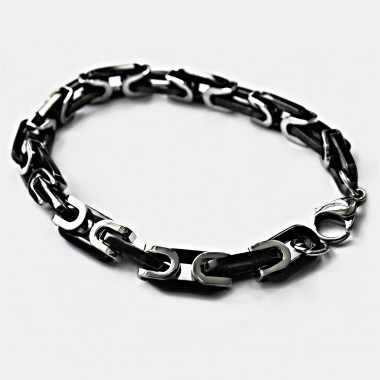 Ocelový náramek - CHAIN (1296 / BLACK / SHINY)
