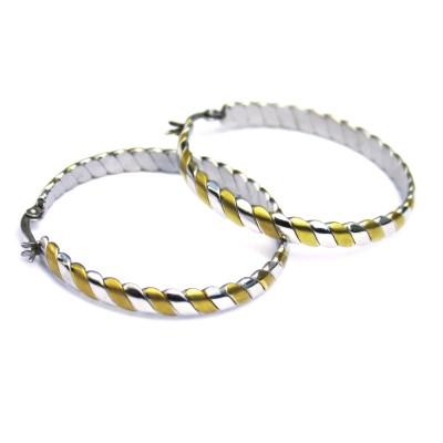 Ocelové náušnice - Kruhy / Bicolour 4,5 cm (matt/shiny)