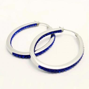 Ocelové náušnice EXEED - Elipse/Blue Stones (3563M)