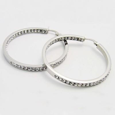 Ocelové náušnice EXEED - Kruhy / Kameny / Circle / Stones 4 cm