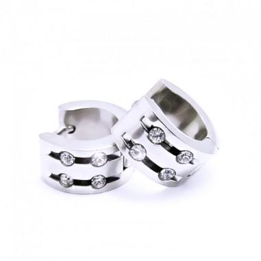 Ocelové náušnice EXEED - Lesklé Kroužky / 4 Kameny 1,3 cm (5989)