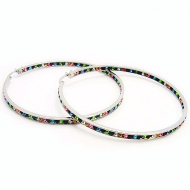 Ocelové náušnice EXEED - Kruhy / Colours / Stones 7 cm (3875)