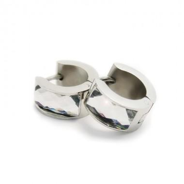 Ocelové náušnice EXEED - Lesklé Kroužky s Bílým Kamenem / 1,4 mm (5148)