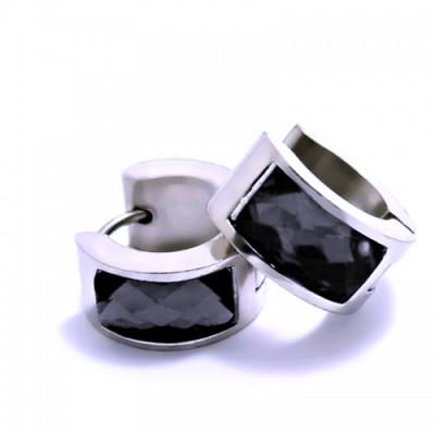 Ocelové náušnice EXEED - Lesklé Kroužky se Černým Kamenem / 1,4 mm (6263)