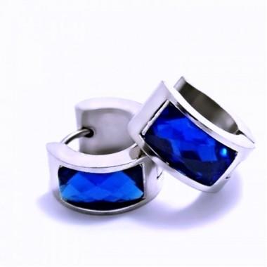 Ocelové náušnice EXEED - Lesklé Kroužky s Modrým Kamenem / 1,4 mm (6263)