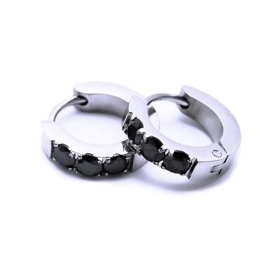 Ocelové náušnice EXEED - Kroužky 1,3 cm / 3 černé Kameny (6825)