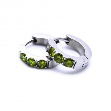 Ocelové náušnice EXEED - Kroužky 1,3 cm / 3 zelené Kameny (6825)