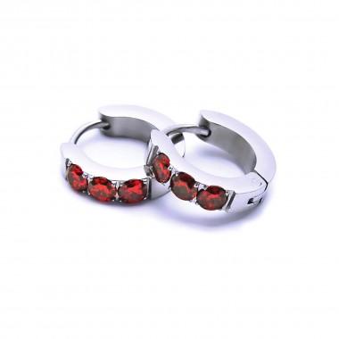 Ocelové náušnice EXEED - Kroužky 1,3 cm / 3 červené Kameny (6825)