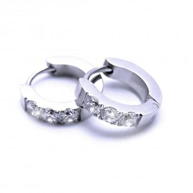 Ocelové náušnice EXEED - Kroužky 1,3 cm / 3 Bílé Kameny (6825)
