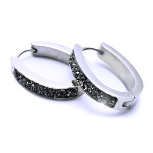 Ocelové Náušnice Exeed - Elipsy s Kameny 2 cm / antracit (6826)
