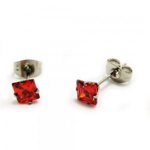Ocelové náušnice - Square Crystal / Red 5 mm.