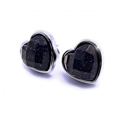 Ocelové náušnice EXEED - Černé Srdce / Black Heart (3705)