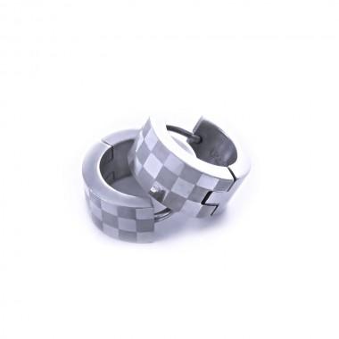 Ocelové náušnice EXEED - Kroužky / šachovnice 1,4 cm (2829)
