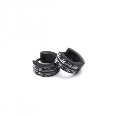 Ocelové náušnice - Kroužky / Černé 1 cm (42031)